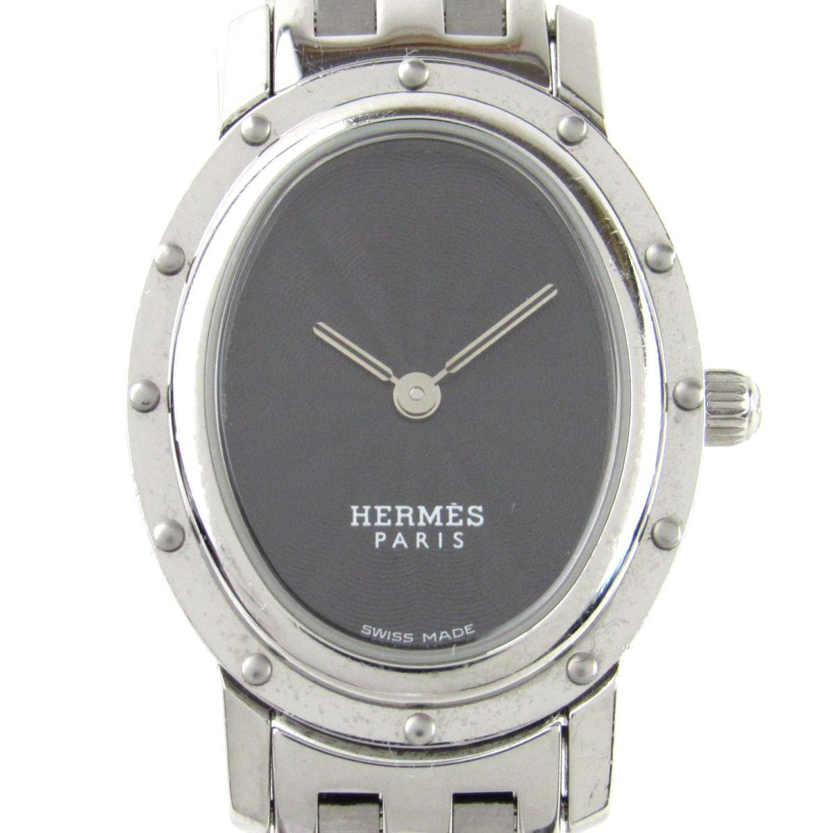 【中古】 エルメス クリッパーオーバル ウォッチ 腕時計 レディース ステンレススチール (SS) (CO1.210) | HERMES クオーツ クォーツ 時計 クリッパーオーバル 美品 ブランドオフ
