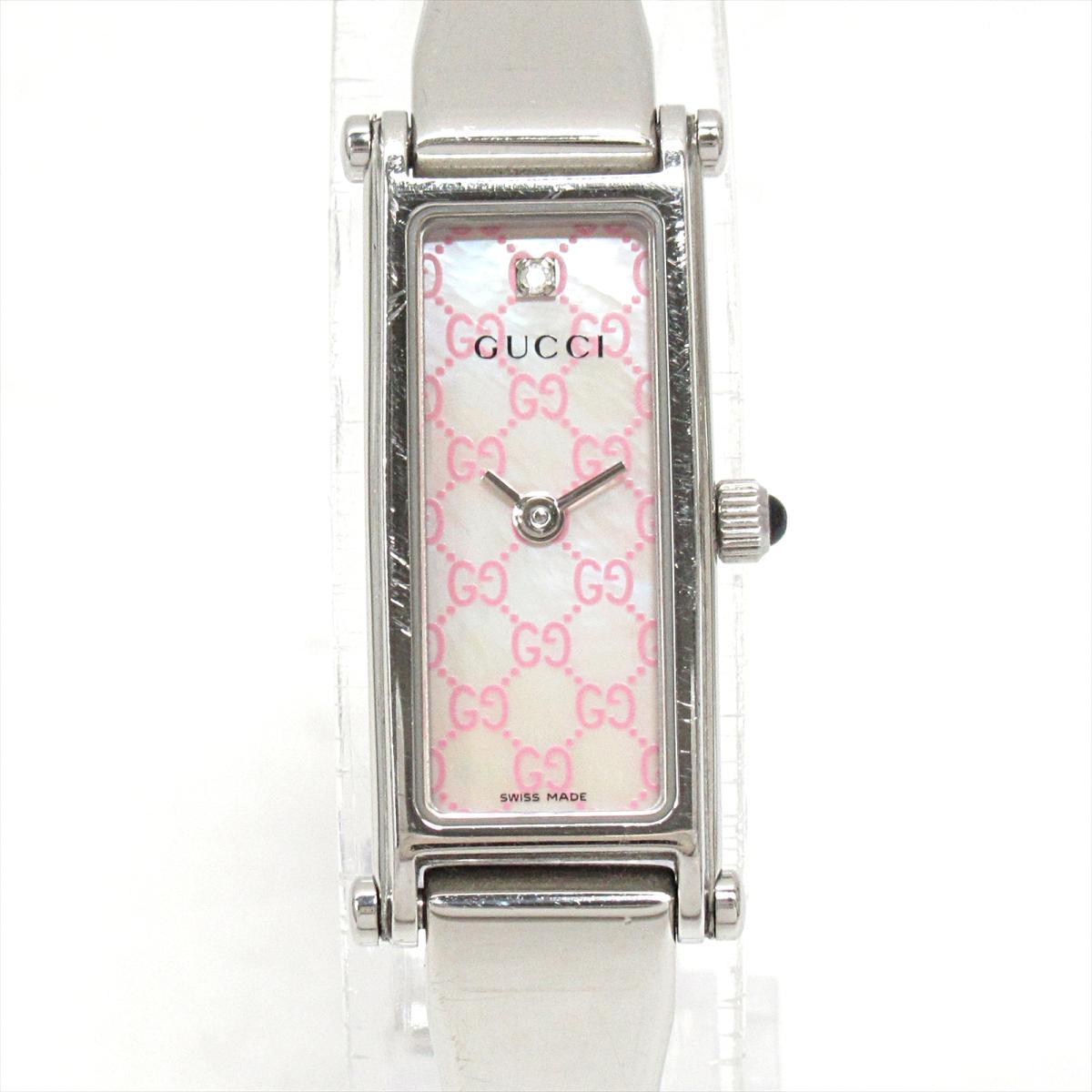 【中古】 グッチ 腕時計 ウォッチ レディース ステンレススチール (SS) x ダイヤモンド (1P) (1500L)   GUCCI クオーツ クォーツ 時計 ブランドオフ