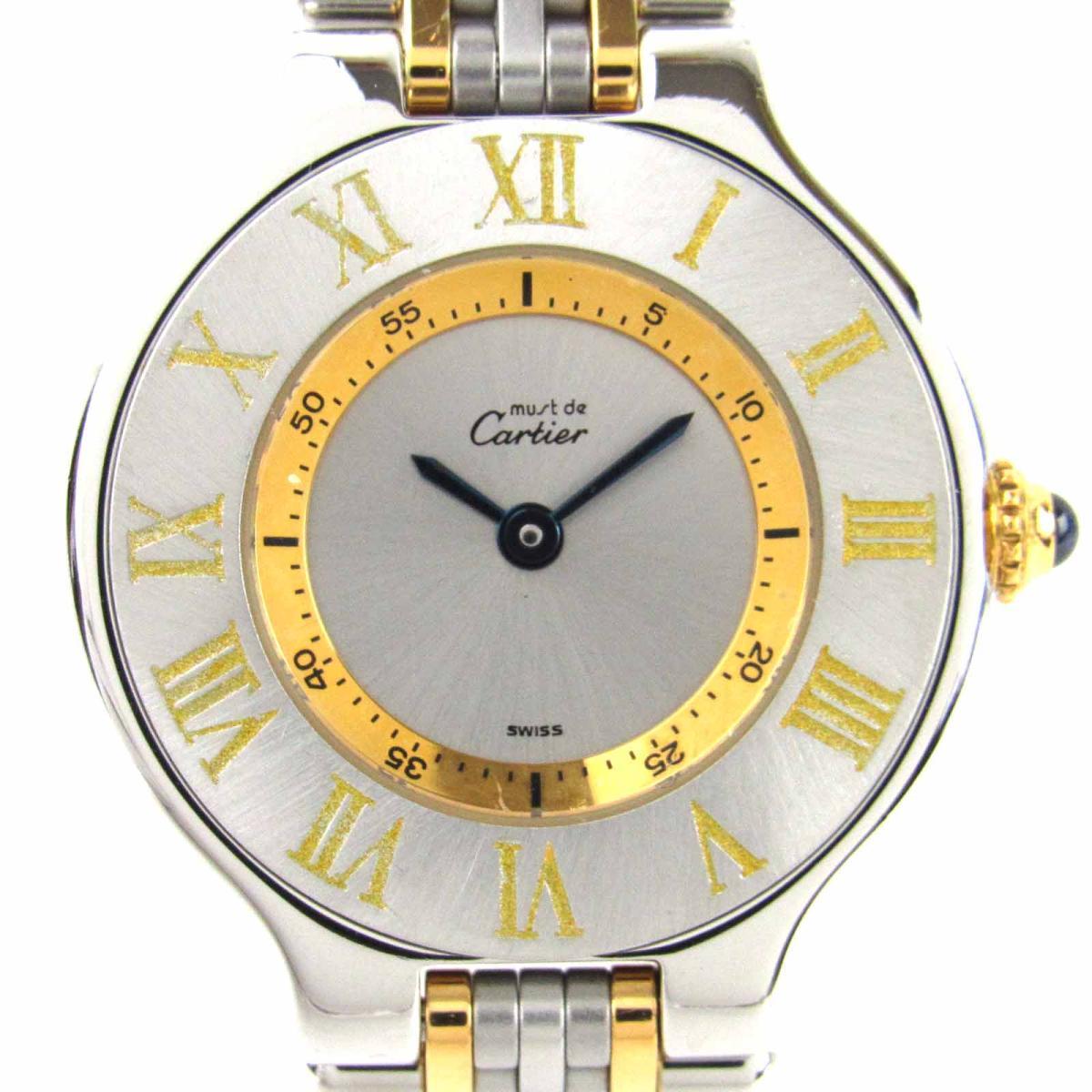 【中古】 カルティエ マスト21 ウォッチ 腕時計 レディース ステンレススチール (SS) x GP (ゴールドメッキ)   Cartier クオーツ クォーツ 時計 マスト21 美品 ブランドオフ