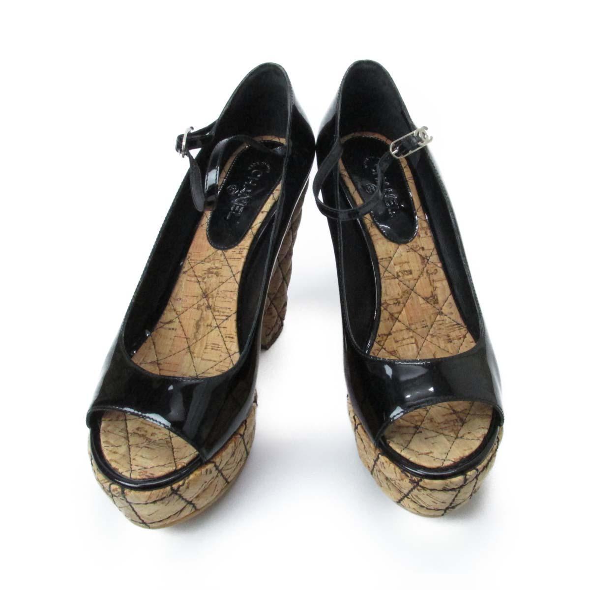 【中古】 シャネル サンダル レディース エナメルパテント/ウッド | CHANEL くつ 靴 サンダル 美品 ブランドオフ