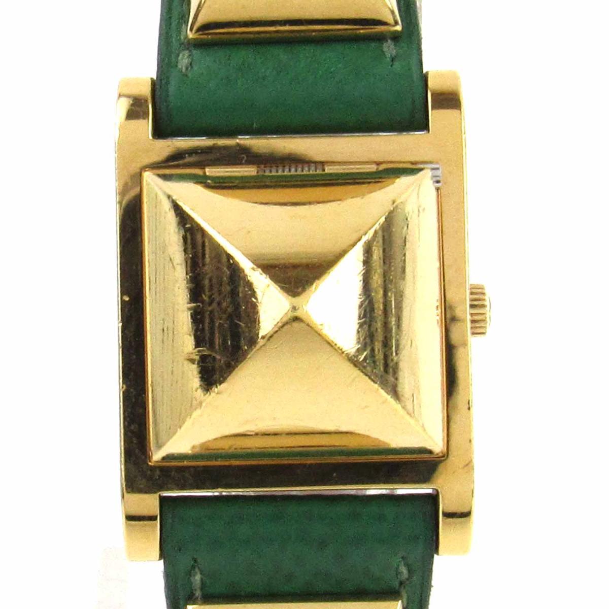【中古】 エルメス メドール ウォッチ 腕時計 レディース レザーベルト x GP (ゴールドメッキ) | HERMES クオーツ クォーツ 時計 メドール 美品 ブランドオフ