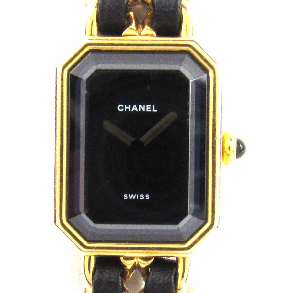 【中古】 シャネル プルミエールM ウォッチ 腕時計 レディース レザーベルト x GP (ゴールドメッキ) (H0001) | CHANEL クオーツ クォーツ 時計 プルミエールM 美品 ブランドオフ
