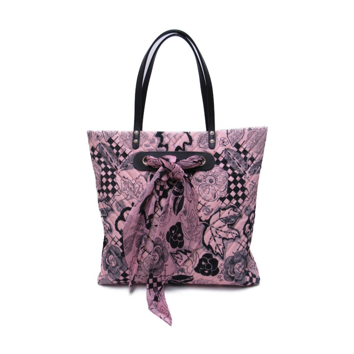 【中古】 シャネル ショッピングトートバッグ レディース キャンバス ピンク x ブラック (A57347) | CHANEL トートバック トート 肩がけ バッグ バック BAG カバン 鞄 ブランドバッグ ブランドバック 美品 ブランドオフ