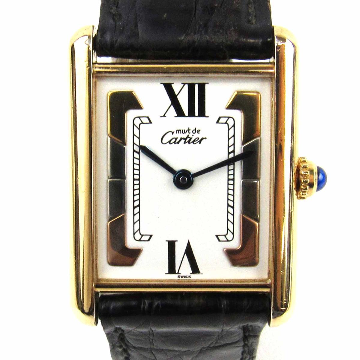 【中古】 カルティエ タンクヴェルメイユ ウォッチ 腕時計 メンズ レディース レザーベルト (クロコ) x 925 (シルバー) 無垢にGOLD 20ミクロンをプレート | Cartier クオーツ クォーツ 時計 タンクヴェルメイユ 美品 ブランドオフ