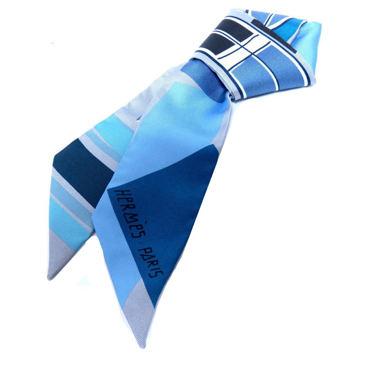 エルメス トゥイリー スカーフ レディース シルク GRIS / CIEL / COBA | HERMES スカーフ ツイリー 新品 ブランドオフ