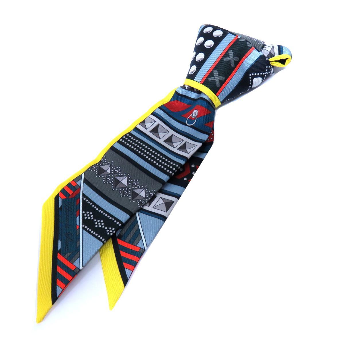 エルメス トゥイリー スカーフ レディース シルク グレー / イエロー / レッド / オレンジ | HERMES スカーフ ツイリー 新品 ブランドオフ