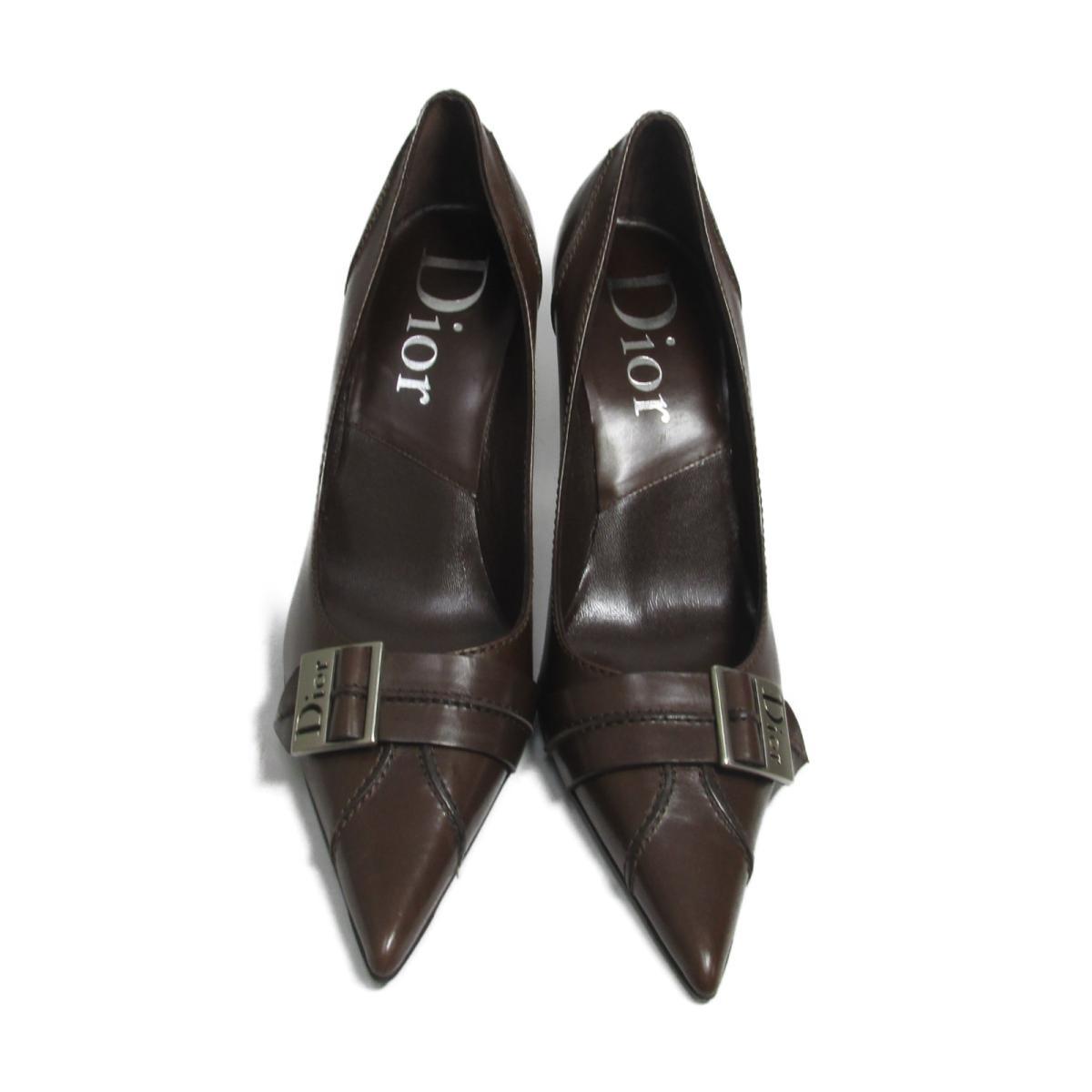 【中古】 クリスチャン・ディオール パンプス ヒール レディース レザー ブラウン   Dior くつ 靴 ヒール 美品 ブランドオフ BRANDOFF