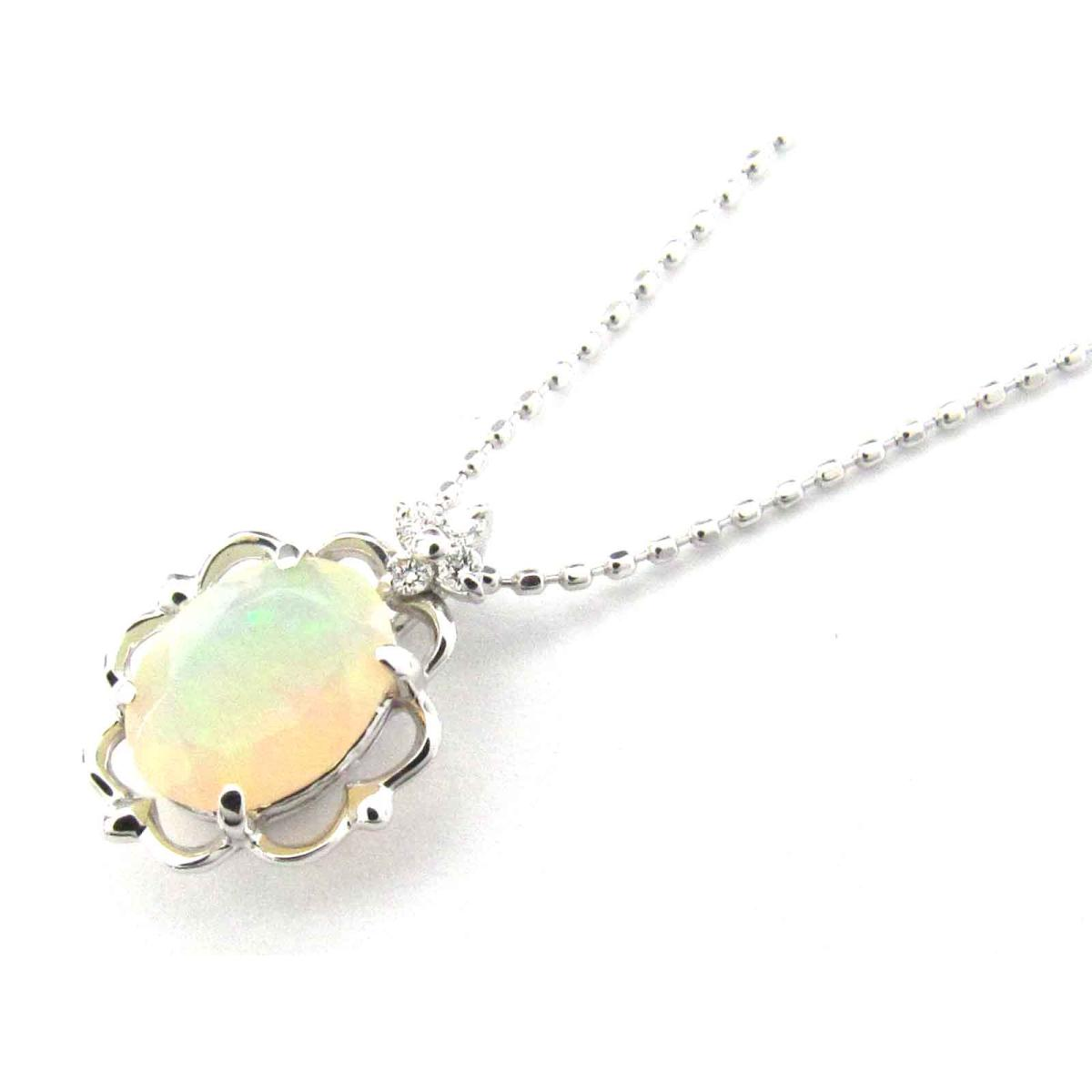 新発売の ジュエリー オパール ダイヤモンド ネックレス レディース K18WG (750) ホワイトゴールド x オパール (0.67ct) x ダイヤモンド (0.03ct)   JEWELRY ネックレス K18 18K 18金 新品 ブランドオフ, PeP TOMIYA 5bad69f2