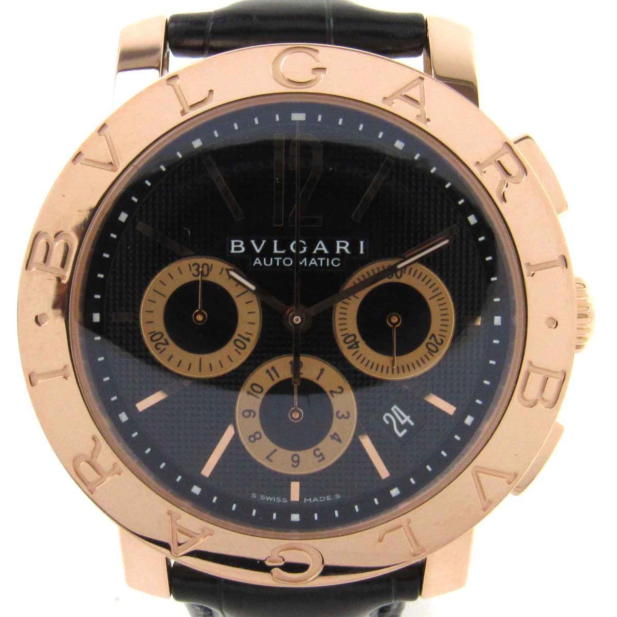 【中古】 ブルガリ ブルガリ ブルガリ クロノグラフ ウォッチ 腕時計 メンズ K18PG (750) ピンクゴールド x クロコレザー (BBP42GLCH) | BVLGARI オートマチック 自動巻き 時計 K18 18K 18金 ブルガリ ブルガリ クロノ 美品 ブランドオフ