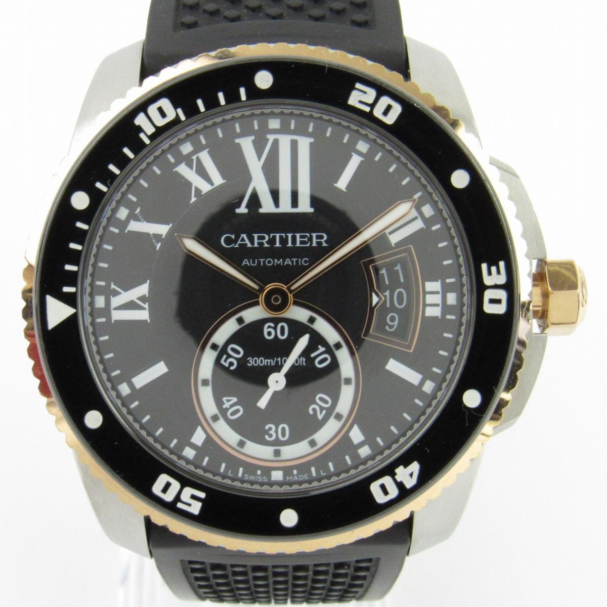 【中古】 カルティエ カリブルダイバー ウォッチ 腕時計 メンズ ステンレススチール (SS) x PG x ラバーベルト (W7100055) | Cartier オートマチック 時計 自動巻き カリブルダイバー 美品 ブランドオフ