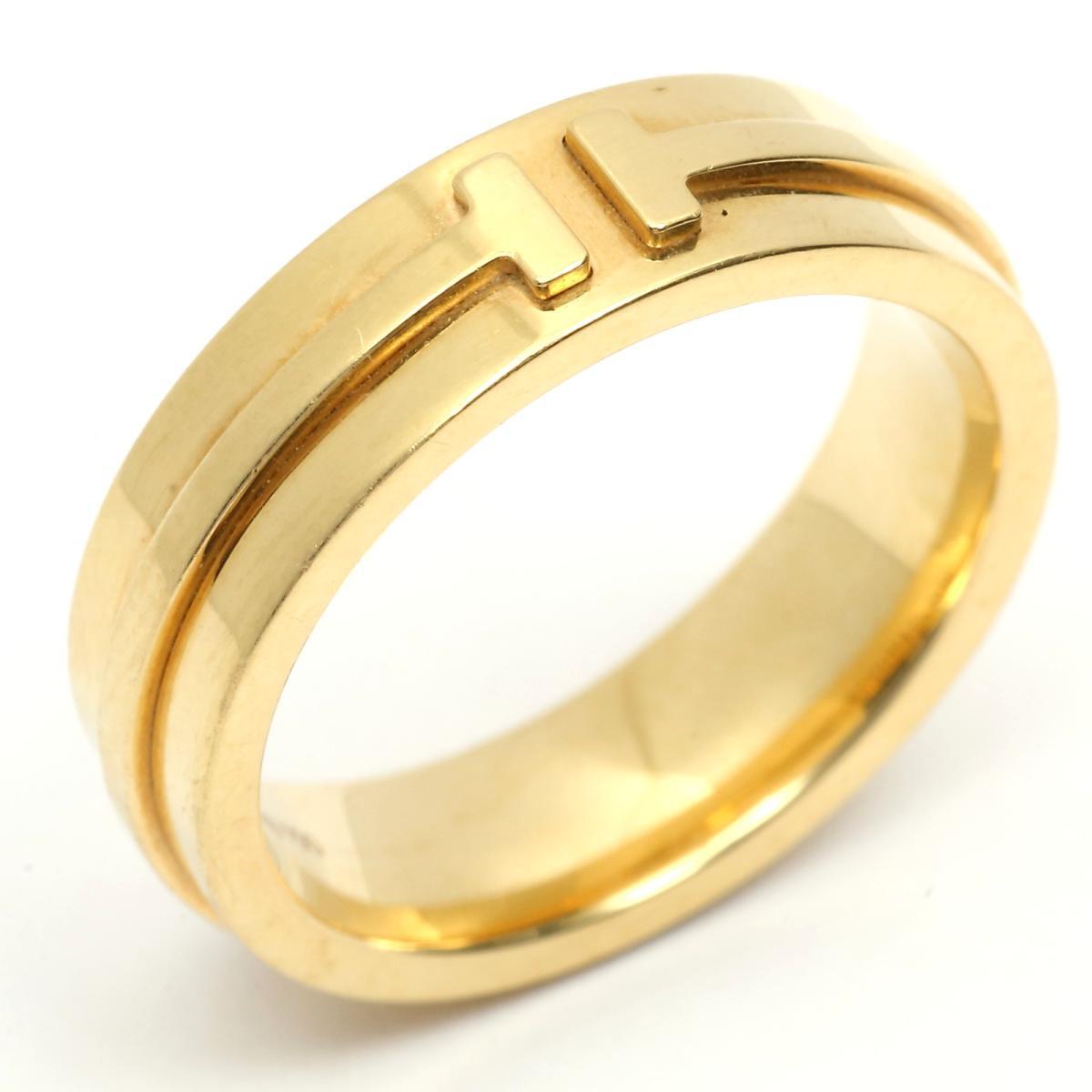 【返品?交換対象商品】 【】 ティファニー T TWO ナローリング 指輪 レディース K18YG (750) イエローゴールド   TIFFANY&CO リング T TWO ナローリング K18 18金 美品 ブランドオフ, tuyet voi 6c46932d