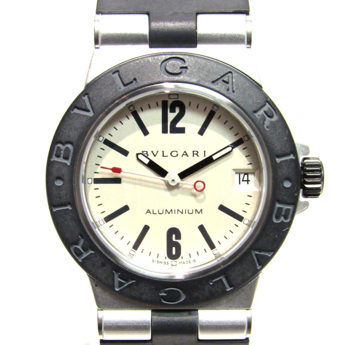 【中古】 ブルガリ アルミニウム 腕時計 ウォッチ メンズ レディース アルミニウム x ラバー ブラック x シルバー (AL32TA) | BVLGARI クオーツ クォーツ 時計 アルミニウム 美品 ブランドオフ