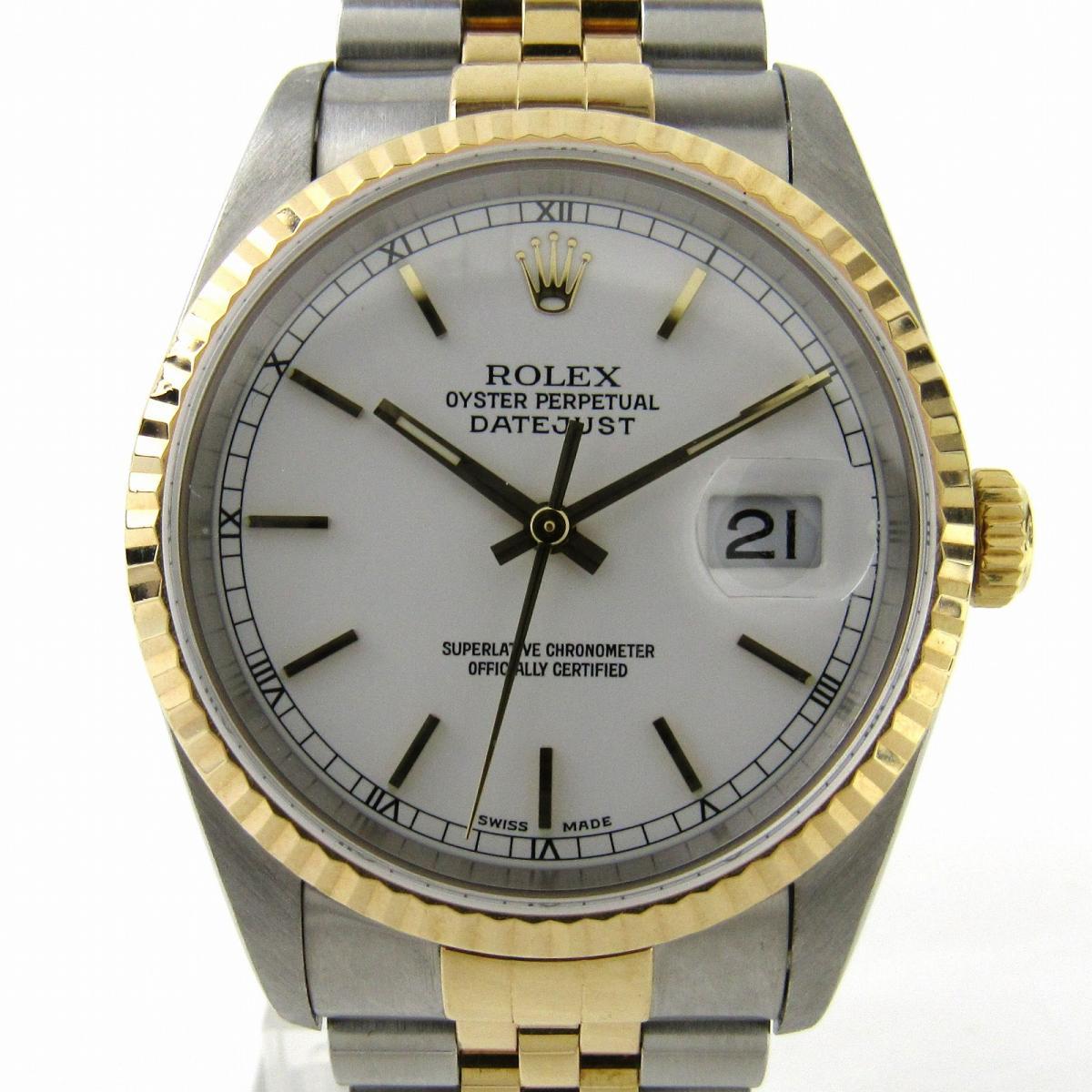 【中古】 ロレックス デイトジャスト ウォッチ 腕時計 メンズ K18YG (750) イエローゴールド x ステンレススチール (SS) (16233) | ROLEX デイトジャスト 美品 ブランドオフ