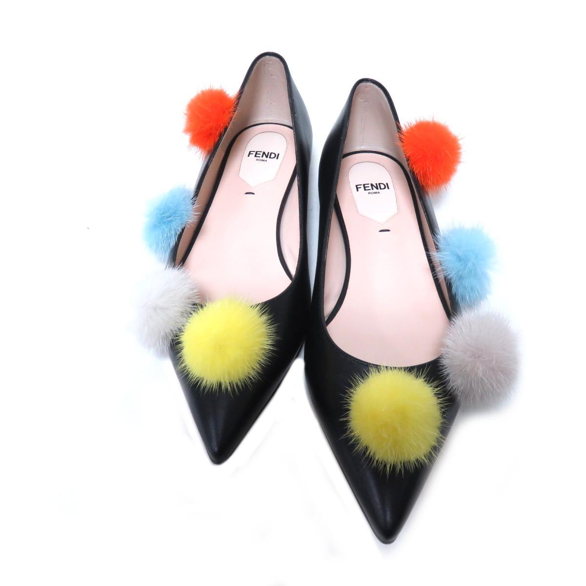 【中古】 フェンディ ポンポンフラットシューズ レディース 牛革 (カーフ) ブラック | FENDI 靴 美品 ブランドオフ