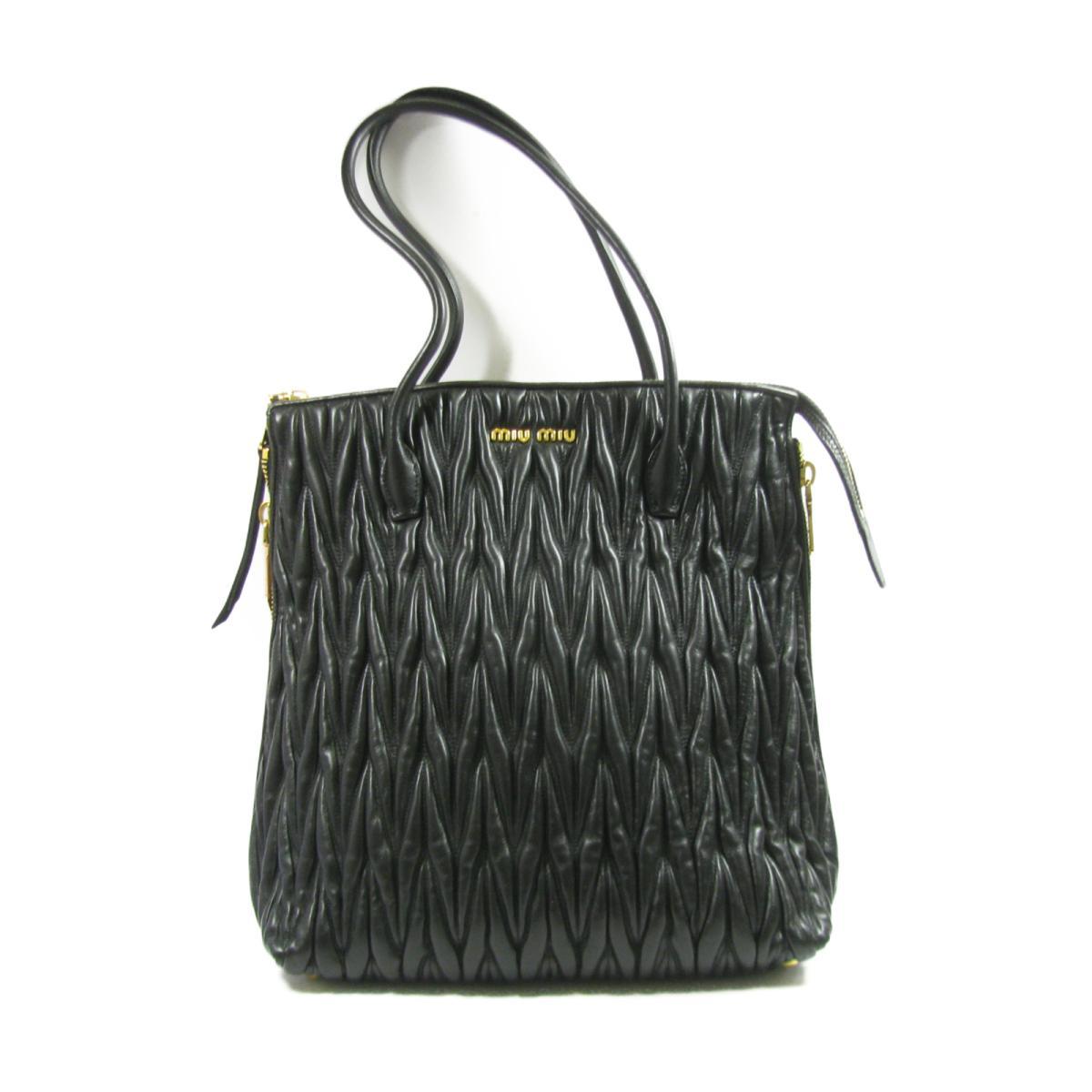 ミュウミュウ トートバッグ レディース レザー ブラック (RR1893 N88 F0002)   miu miu バッグ バック BAG カバン ブランドバッグ ブランドバック 新品 ブランドオフ