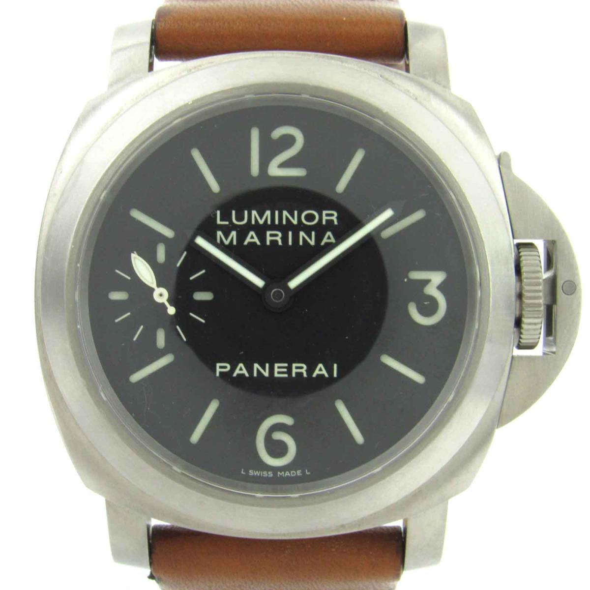 【中古】 パネライ ルミノール マリーナ ウォッチ 腕時計 メンズ レザーベルト x チタン (PAM00177)   PANERAI ルミノール マリーナ 美品 ブランドオフ