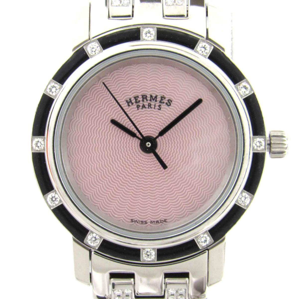 【中古】 エルメス クリッパーナクレ ダイヤモンド ウォッチ 腕時計 レディース ステンレススチール (SS) x ダイヤモンド | HERMES クリッパーナクレ 12Pダイヤ 美品 ブランドオフ