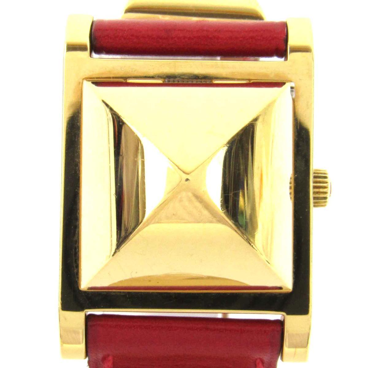 【中古】 エルメス メドール ウォッチ 腕時計 レディース レザーベルト x GP (ゴールドメッキ) | HERMES メドール 美品 ブランドオフ