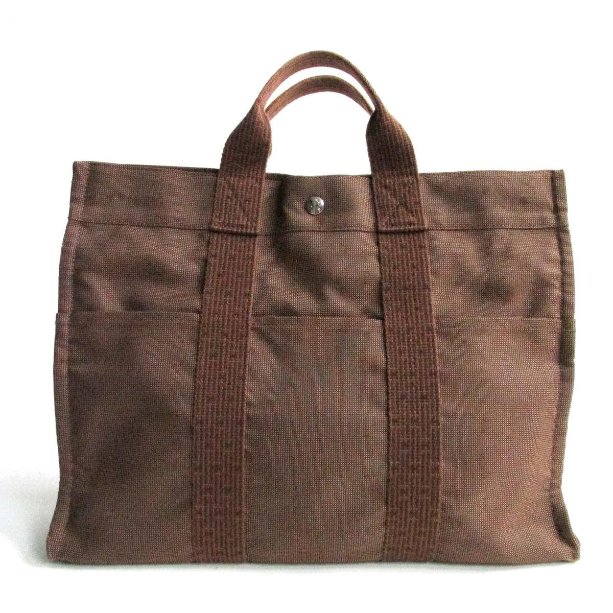 【中古】 エルメス エールライントートMM ハンドバッグ メンズ レディース ナイロン ブラウン   HERMES トートバッグ ハンドバック バッグ バック BAG カバン 鞄 ブランドバッグ ブランドバック ブランドオフ