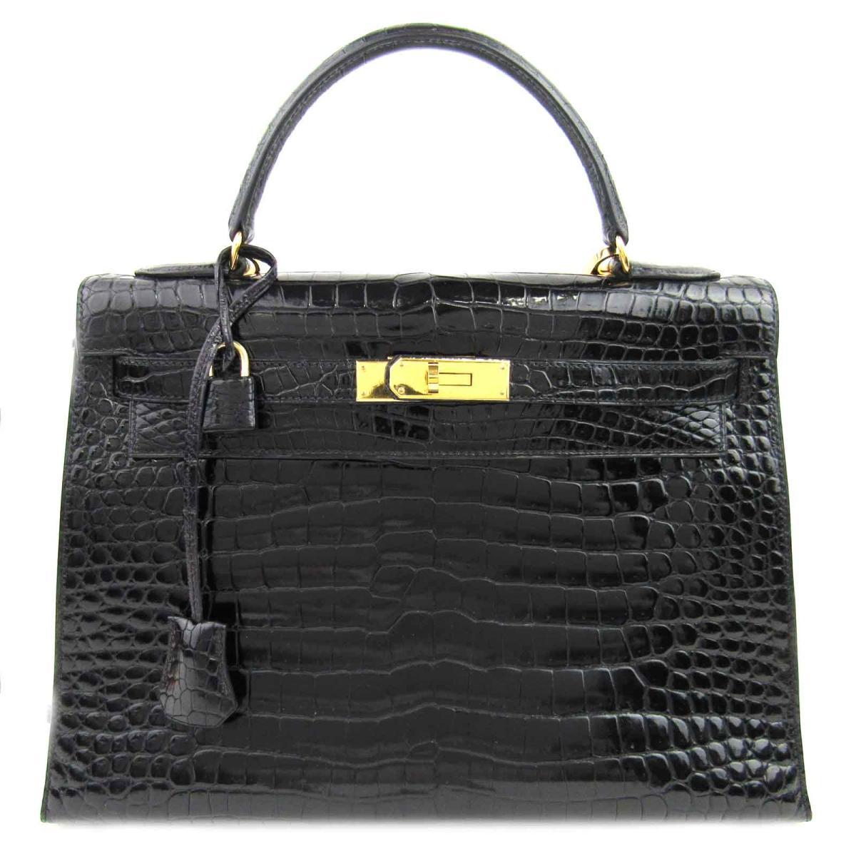 【中古】 エルメス ケリー32 2WAY ハンドバッグ レディース クロコポロサス ブラック (金具:ゴールド) | HERMES ハンドバック ケリー KELLY 32 バッグ バック BAG カバン 鞄 ブランドバッグ ブランドバック 美品 ブランドオフ