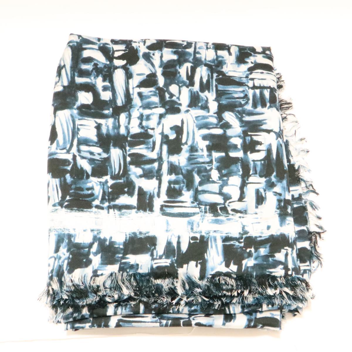 【中古】 シャネル ストール スカーフ レディース シルク ブルー x ホワイト | CHANEL ストール 美品 ブランドオフ