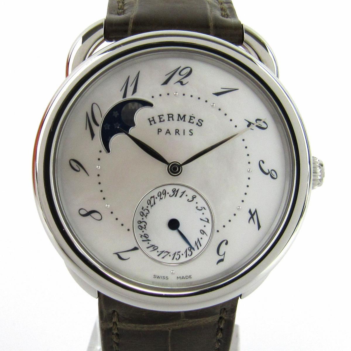 【中古】 エルメス アルソー ムーンフェイズ ウォッチ 腕時計 メンズ ステンレススチール (SS) x アリゲーター (AR7M.510) | HERMES オートマチック 自動巻き 時計 アルソー ムーンフェイズ 美品 ブランドオフ