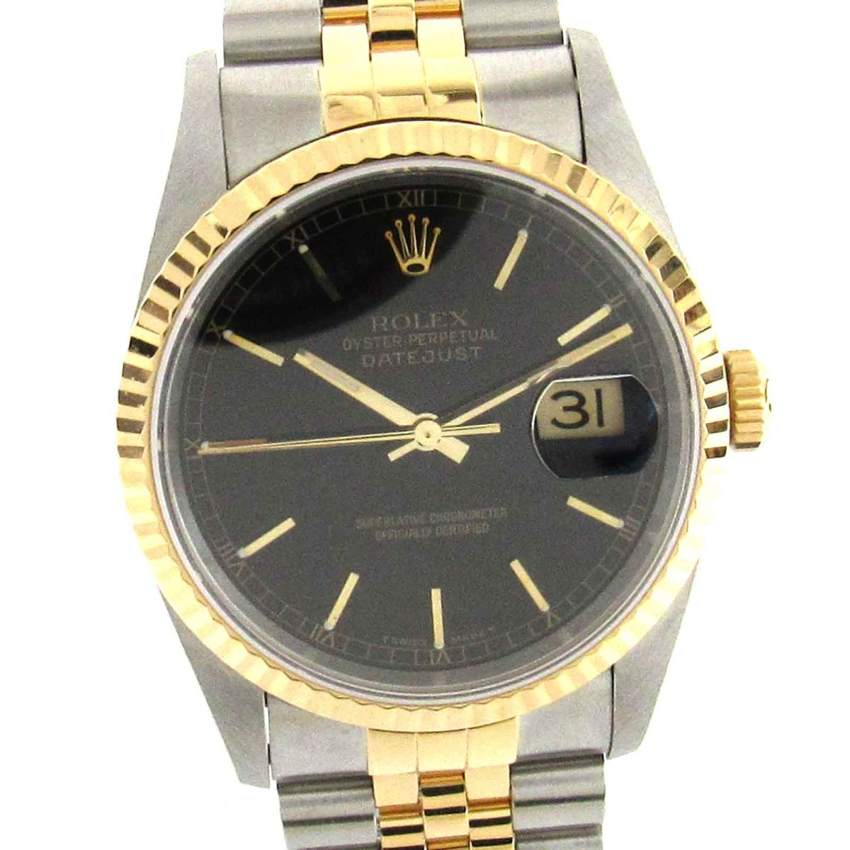 【中古】 ロレックス デイトジャスト ウォッチ 腕時計 メンズ ステンレススチール (SS) x K18YG (750) イエローゴールド (16233) | ROLEX オートマチック 自動巻き 時計 K18 18金 デイトジャスト 美品 ブランドオフ