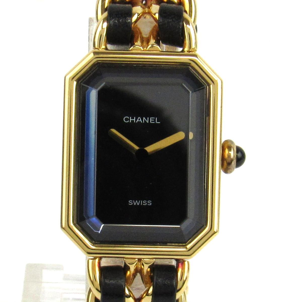 【中古】 シャネル プルミエールS ウォッチ 腕時計 レディース レザーベルト x GP (ゴールドメッキ) H0001   CHANEL クオーツ クォーツ 時計 プルミエールS 美品 ブランドオフ