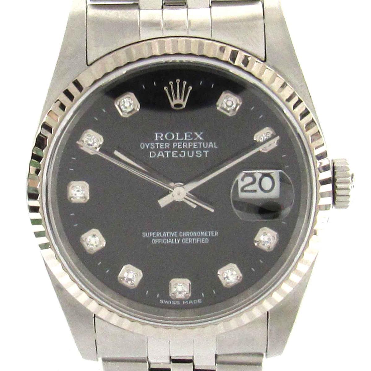 【中古】 ロレックス デイトジャスト 10Pダイヤモンド ウォッチ 腕時計 ステンレススチール (SS) x K18WG (750)ホワイトゴールド ダイヤモンド (16234G) | ROLEX オートマチック 自動巻き 時計 10Pダイヤ K18 18金 美品 ブランドオフ BRANDOFF