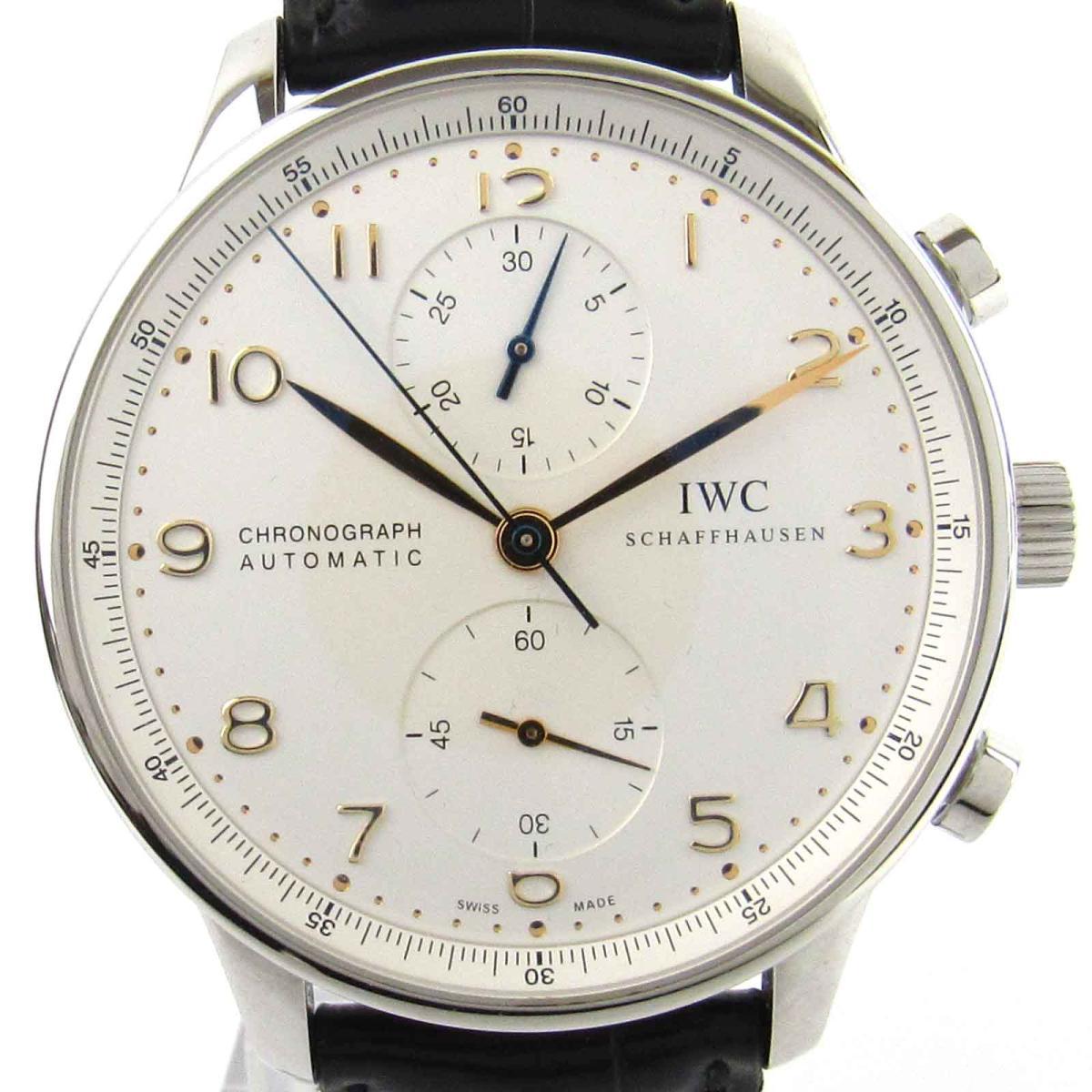 【中古】 インターナショナル・ウォッチ・カンパニー ポルトギーゼ クロノグラフ ウォッチ 腕時計 メンズ ステンレススチール (SS) x レザーベルト (IW371445) | IWC オートマチック 自動巻き 時計 ポルトギーゼ クロノグラフ 美品 ブランドオフ
