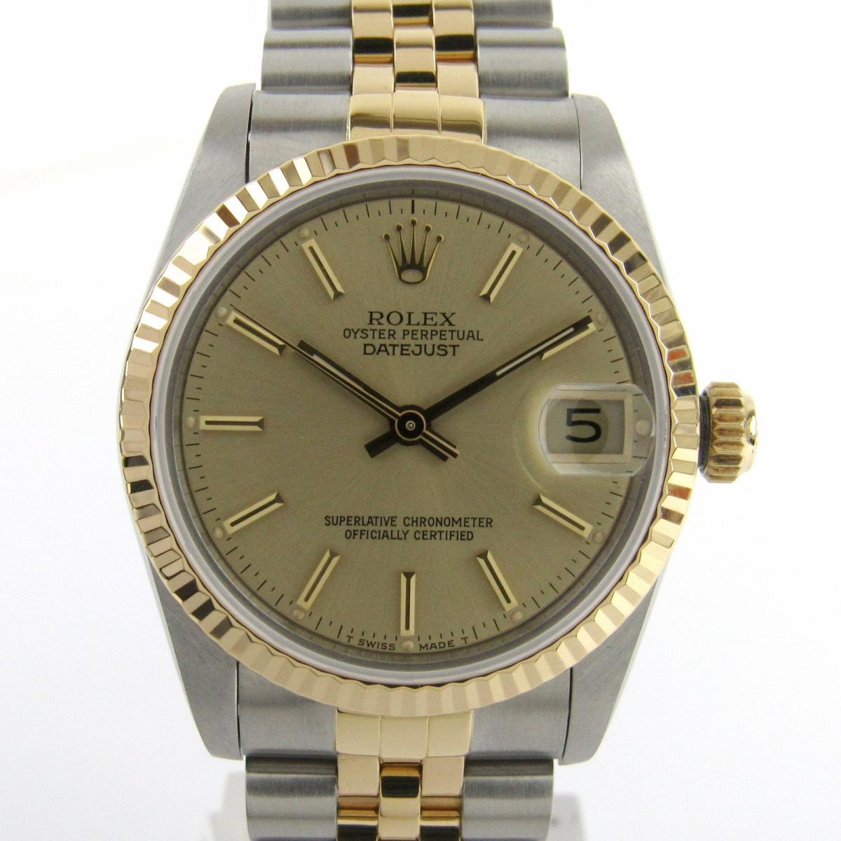 【中古】 ロレックス デイトジャスト ウォッチ 腕時計 メンズ レディース K18YG (750)イエローゴールド x ステンレススチール (SS) (68273 9番)   ROLEX オートマチック 自動巻き 時計 デイトジャスト K18 18金 美品 ブランドオフ
