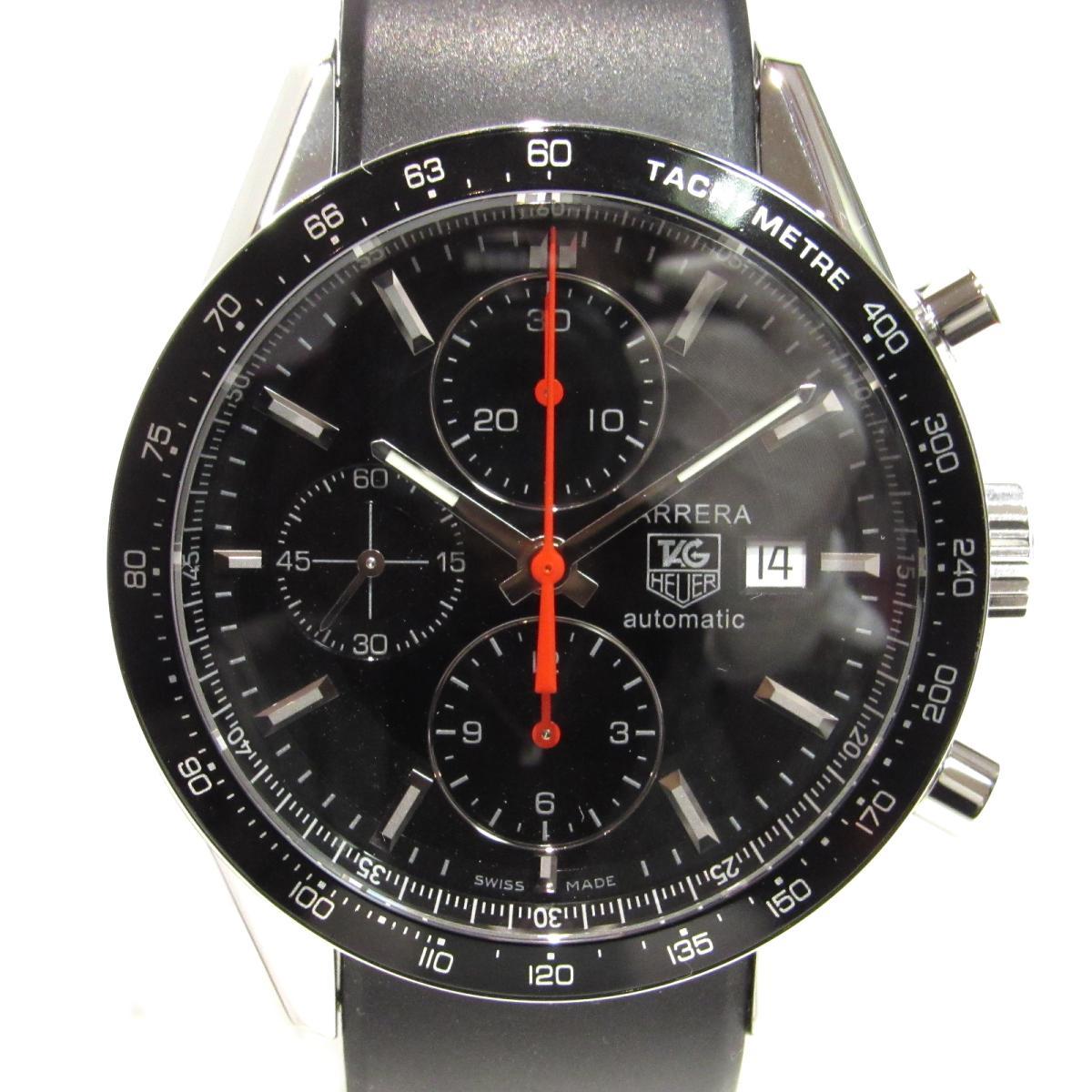 【中古】 タグ・ホイヤー カレラタキメータークロノレーシング 腕時計 ウォッチ ステンレススチール (SS) x ラバー ブラック シルバー (CV2014.FT6007) | TAG HEUER オートマチック 自動巻き 時計 美品 ブランドオフ BRANDOFF