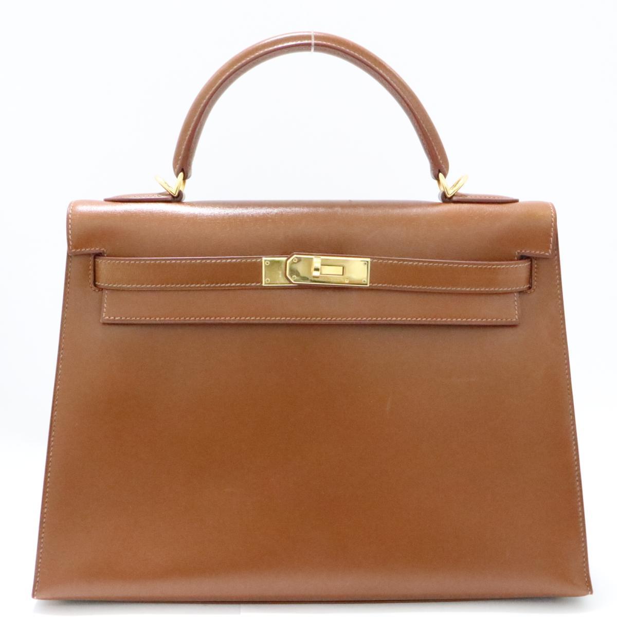 【中古】 エルメス ケリー32 2WAY ハンドバッグ 外縫い ゴールド金具 レディース ボックスカーフ キャメル | HERMES ハンドバック ケリー KELLY 32 バッグ バック BAG カバン 鞄 ブランドバッグ ブランドバック 美品 ブランドオフ