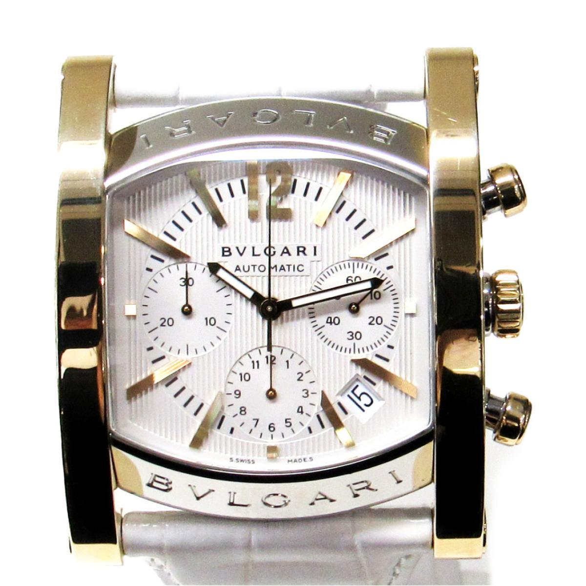 【中古】 ブルガリ アショーマ 腕時計 メンズ 時計 K18YG (750)イエローゴールド x ステンレススチール (SS) 革ベルト ホワイト ゴールド シルバー (AA48SGCH) | BVLGARI オートマチック 自動巻き 時計 アショーマ K18 18金 美品 ブランドオフ