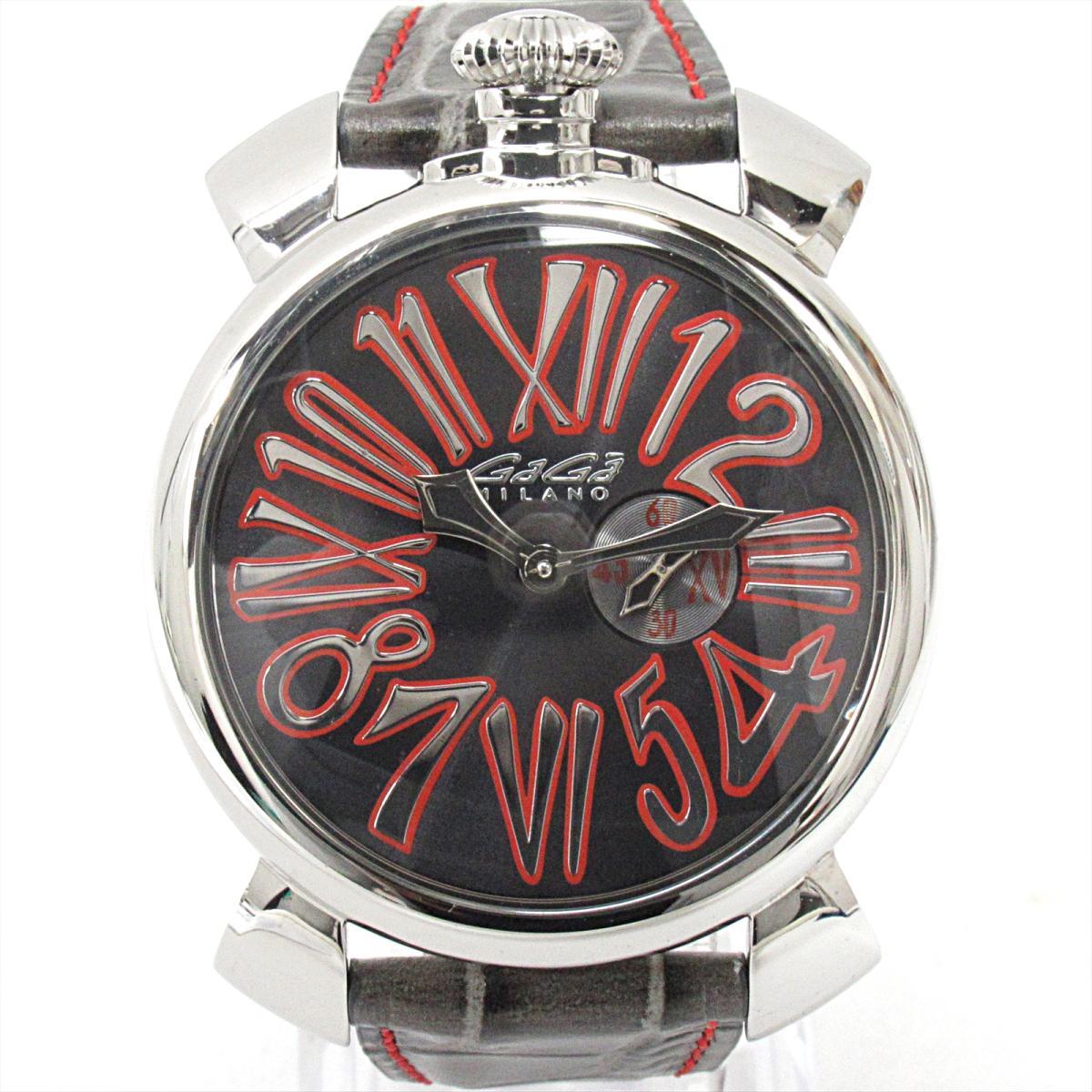 【中古】 ガガミラノ マヌアーレスリム46 腕時計 ウォッチ メンズ ステンレススチール (SS) x レザーベルト (5084.2) | GaGa MILANO クオーツ クォーツ 時計 マヌアーレスリム46 美品 ブランドオフ