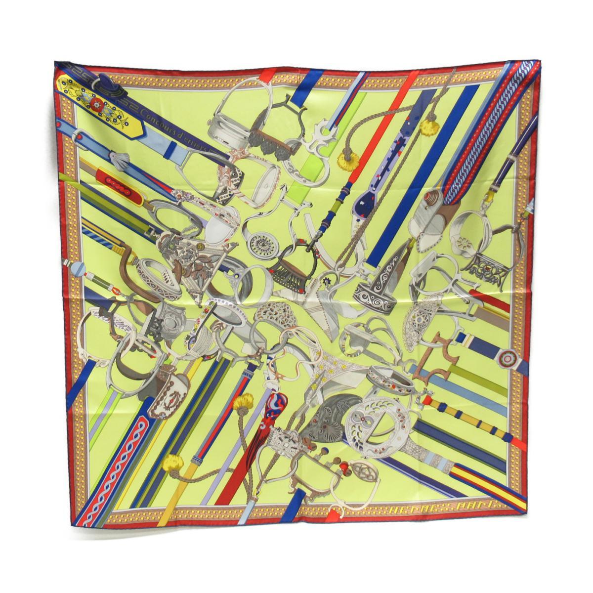 【中古】 エルメス カレ90 スカーフ「Concours d'etriers (エトリエの競演)」 レディース シルク マルチカラー | HERMES スカーフ カレ90 美品 ブランドオフ