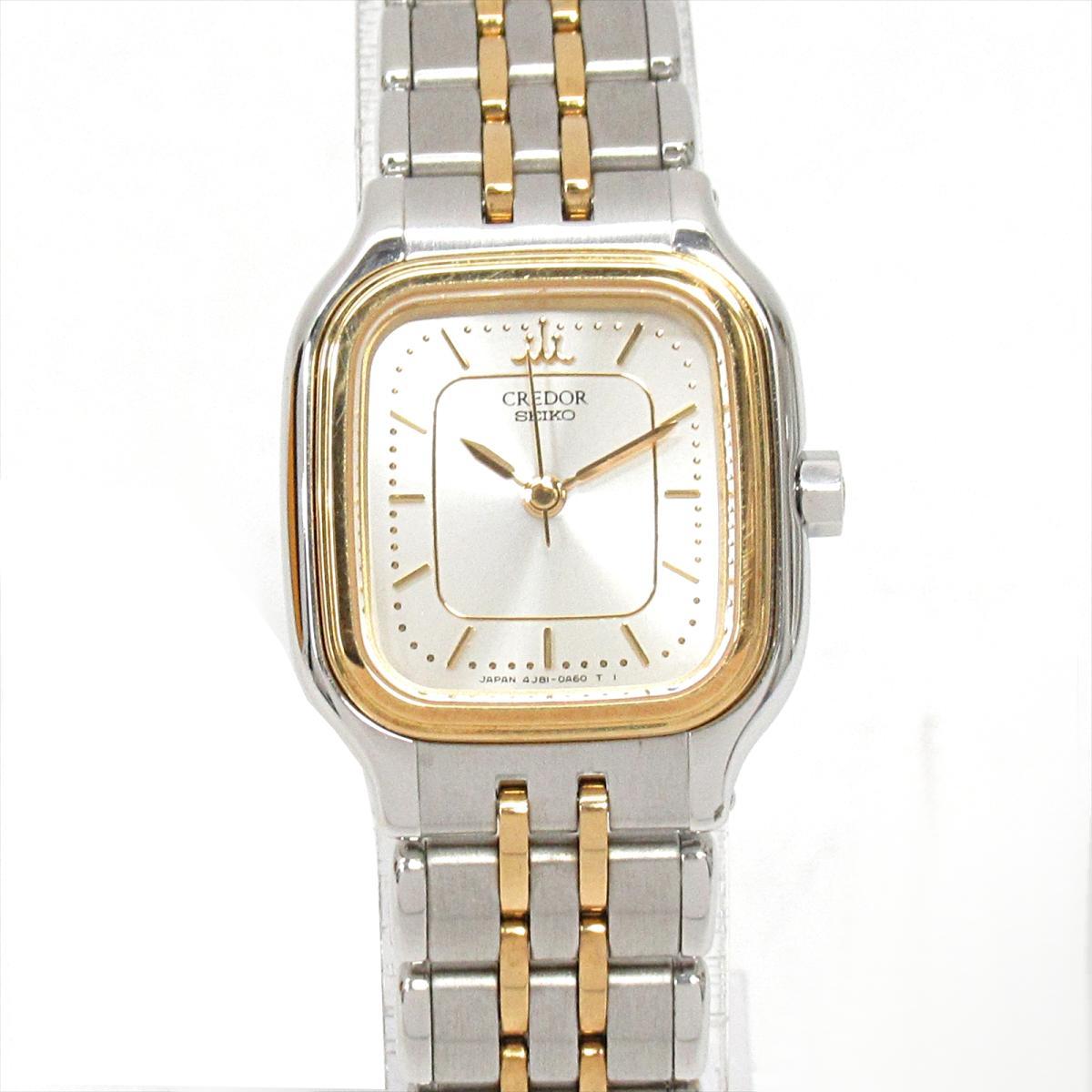 【中古】 セイコー クレドール 腕時計 ウォッチ レディース ステンレススチール (SS) x K18KT (ベゼル) GP (4J81-5A00) | SEIKO クオーツ クォーツ 時計 クレドール K18 18金 美品 ブランドオフ BRANDOFF