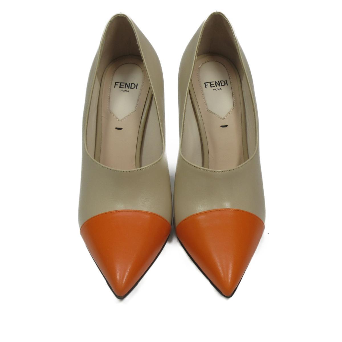 【中古】 フェンディ ブーティ レディース レザー ベージュ x オレンジ | FENDI くつ 靴 ブーティ 美品 ブランドオフ