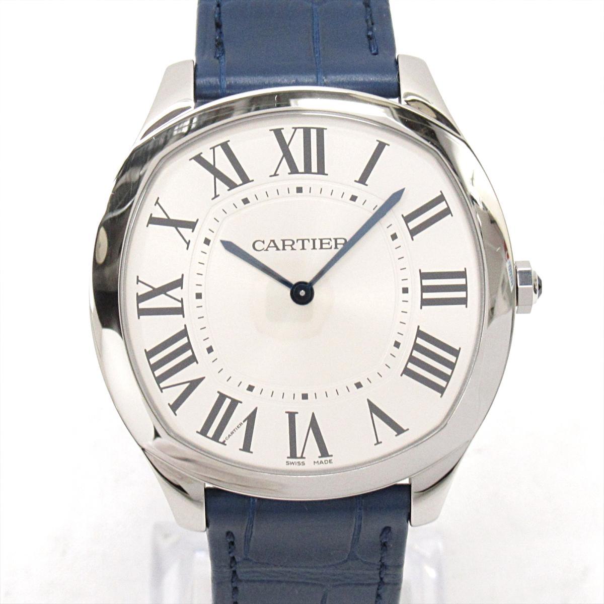 【中古】 カルティエ ドライブ ドゥ エクストラ フラット 腕時計 ウォッチ メンズ ステンレススチール (SS) x レザーベルト (CRWSNM0011)   Cartier 手巻き時計 ドライブドゥカルティエエクストラフラット 美品 ブランドオフ
