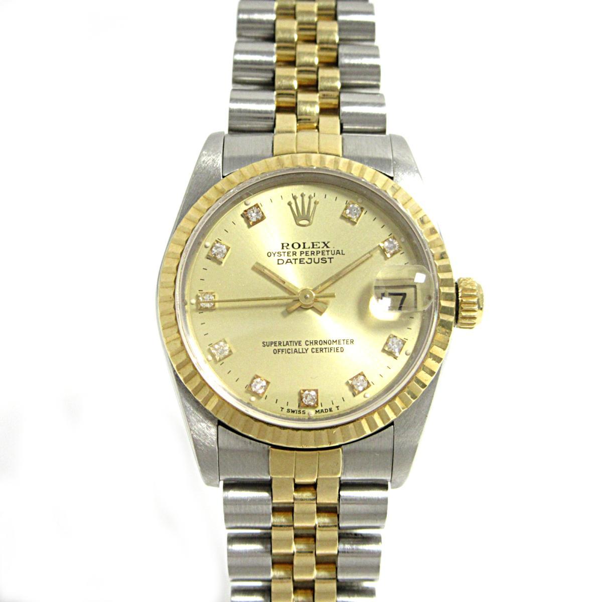 【中古】 ロレックス デイトジャスト 10Pダイヤ 腕時計 ウォッチ ステンレススチール (SS) x K18YG (750)イエローゴールド (68273G )   ROLEX オートマチック 自動巻き 時計 デイトジャスト 10Pダイヤ K18 18金 美品 ブランドオフ BRANDOFF
