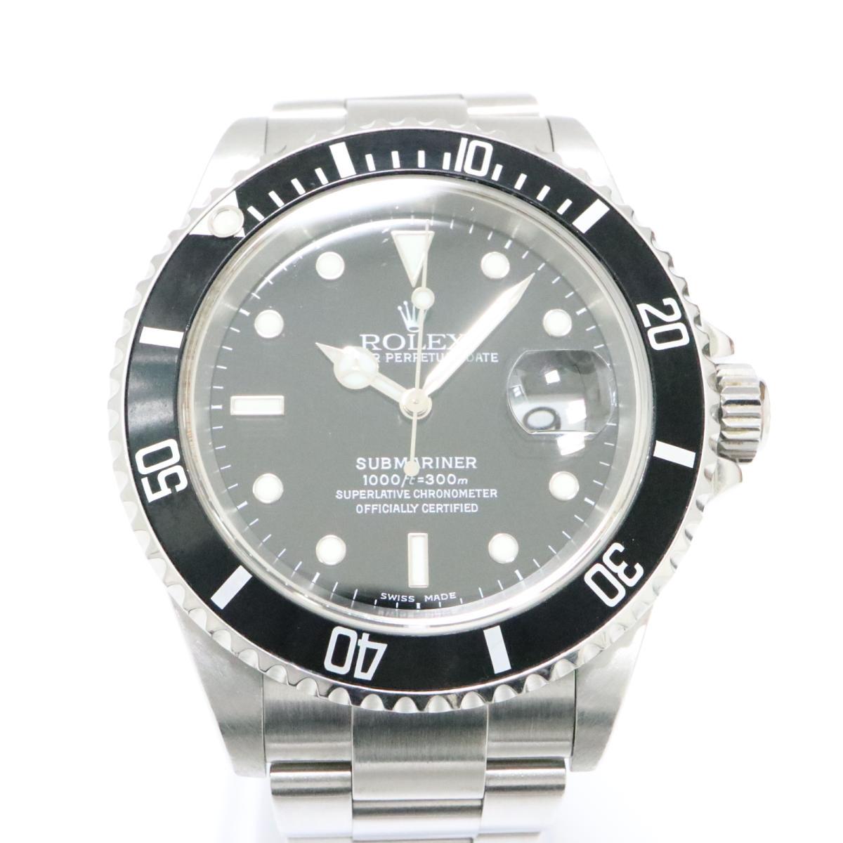 【中古】 ロレックス サブマリーナ 腕時計 メンズ ステンレススチール (SS) ブラック (16610)   ROLEX オートマチック 自動巻き 時計 サブマリーナ ブランドオフ