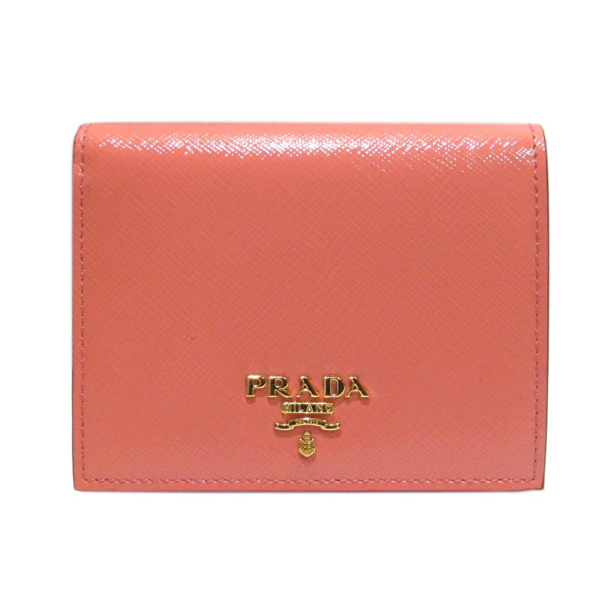 プラダ 二つ折財布 レディース エナメル x レザー ピンク | PRADA 財布 二つ折財布 新品 ブランドオフ