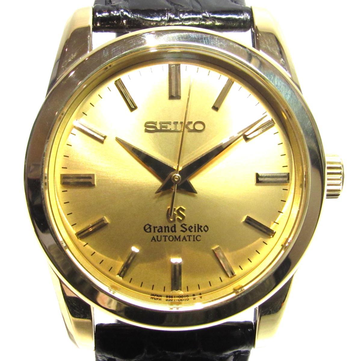 【中古】 セイコー グランドセイコーメカニカル 腕時計 ウォッチ K18YG (750)イエローゴールド × レザー ゴールド ブラック (SBGR002 (QS51-0010))   SEIKO オートマチック 自動巻き 時計 K18 18金 美品 ブランドオフ BRANDOFF