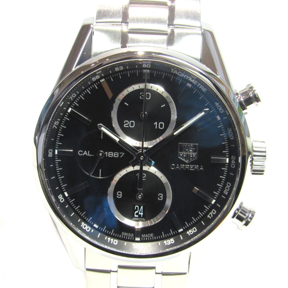 【中古】 タグ・ホイヤー カレラクロノキャリバー1887 腕時計 ウォッチ メンズ ステンレススチール (SS) シルバー × ブラック (CAR2110.BA0724)   TAG HEUER オートマチック 自動巻き 時計 カレラクロノキャリバー1887 美品 ブランドオフ