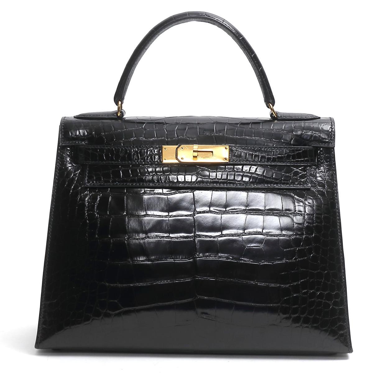 【中古】エルメス ケリー28 ハンドバッグ 外縫い レディース アリゲーター ブラック(金具:ゴールド)