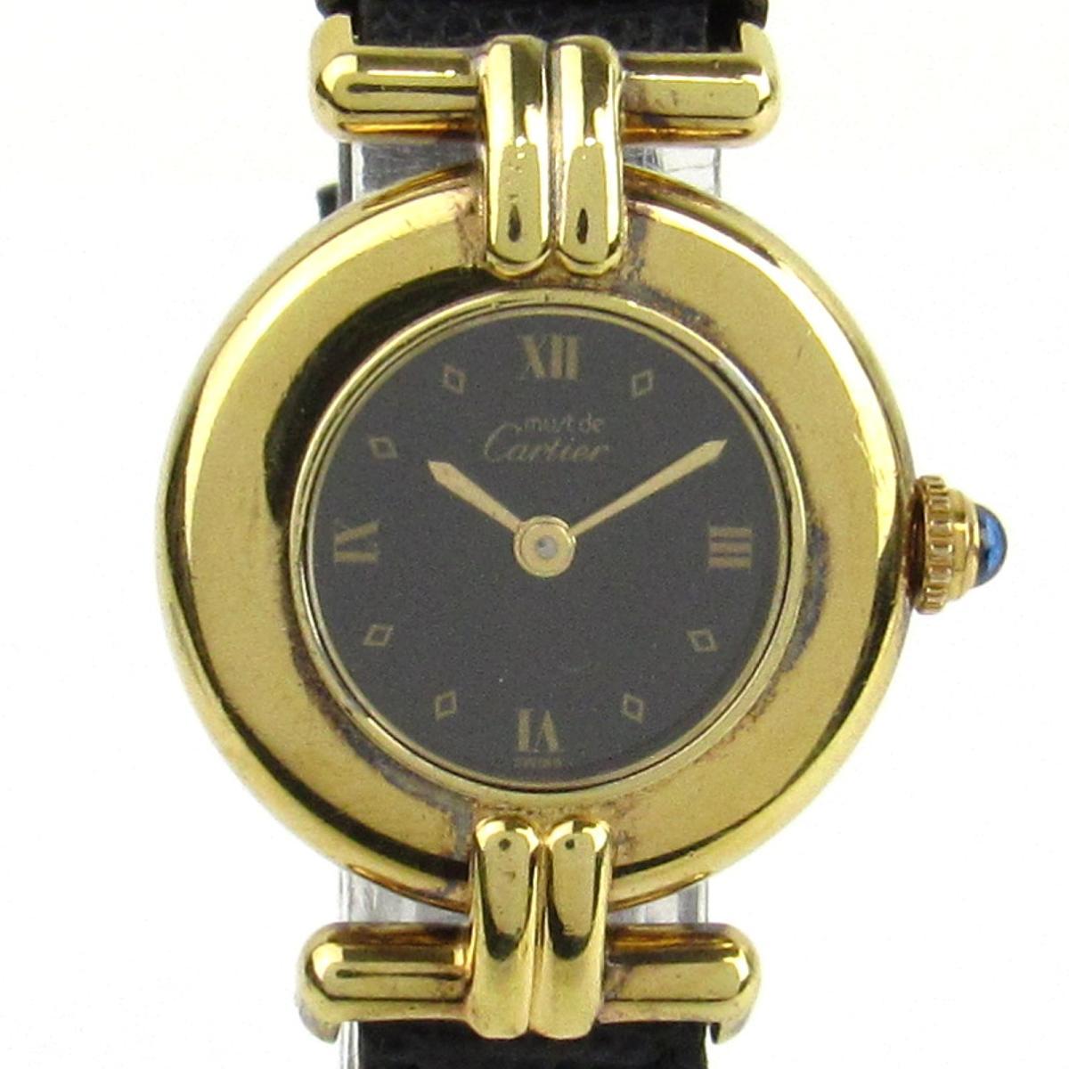 【中古】 カルティエ マストコリゼ ヴェルメイユ ウォッチ 腕時計 レディース レザーベルト (リザード)x925 (ゴールドメッキ) (590002)   Cartier BRANDOFF ブランドオフ ブランド ブランド時計 ブランド腕時計 時計