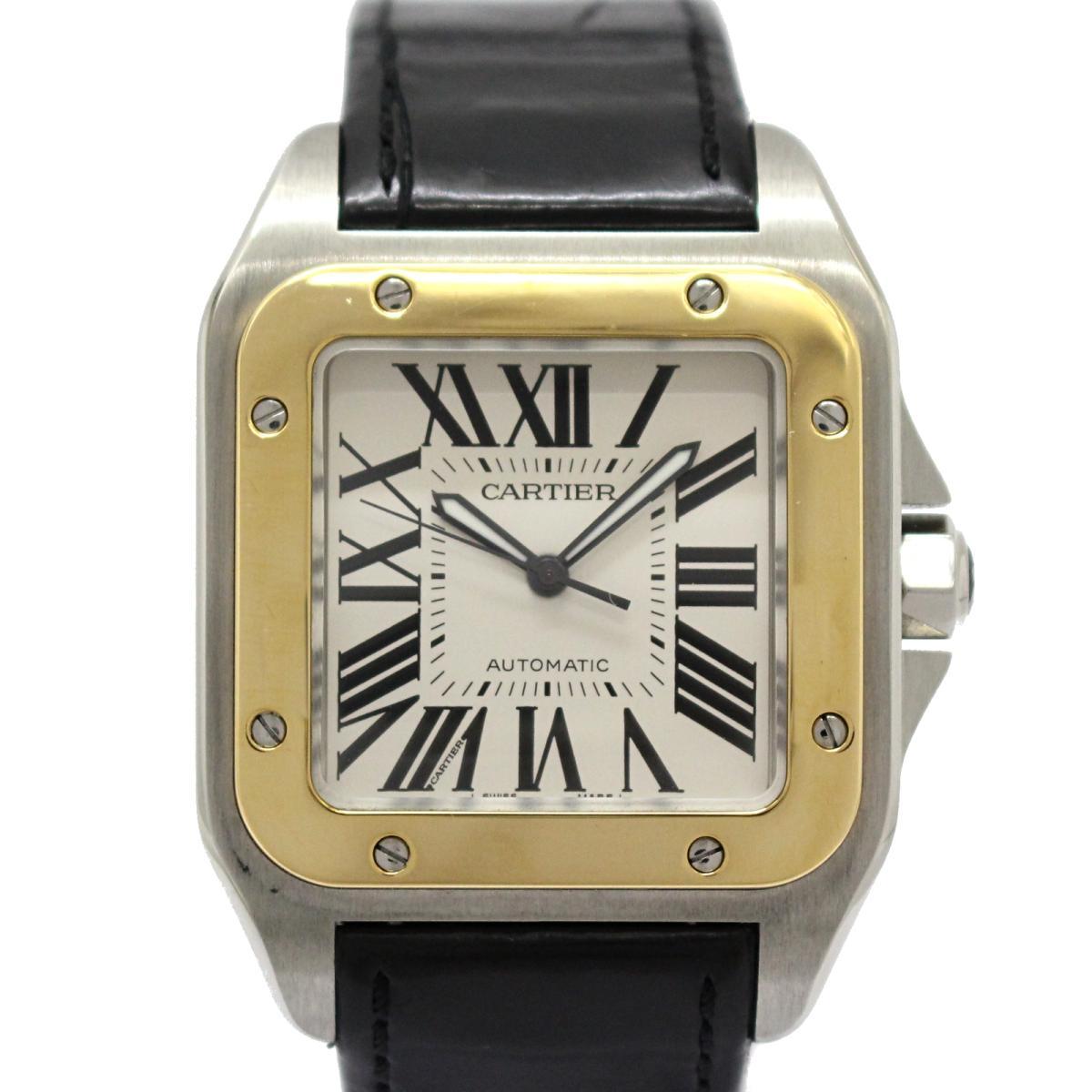 【中古】 カルティエ サントス 100 LM メンズウォッチ 腕時計 メンズ ステンレススチール (SS) x K18YG (750)イエローゴールド レザーベルト (W20072 7)   Cartier BRANDOFF ブランドオフ ブランド ブランド時計 ブランド腕時計 時計 ウォッチ