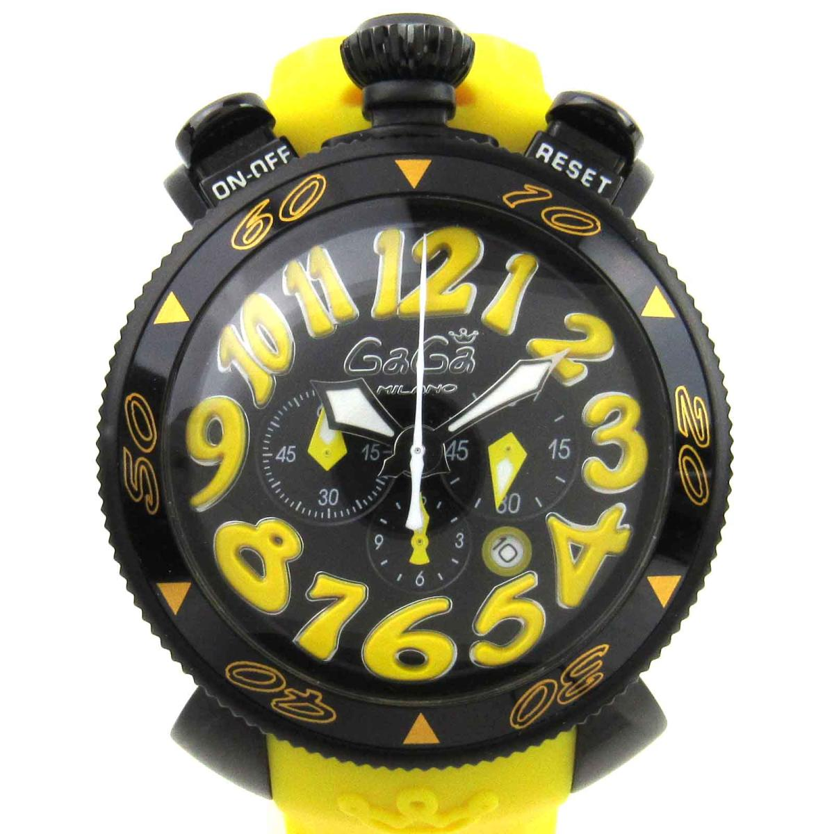 【中古】ガガミラノ マヌアーレ48 クロノ ウォッチ 腕時計 メンズ ステンレススチール(SS) x ラバー (6054.4)