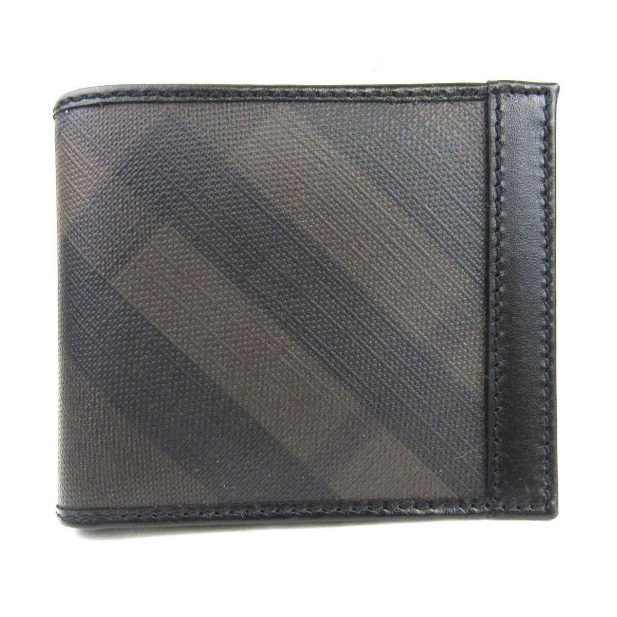 【中古】バーバリー 二つ折り財布 ユニセックス レザー x コーティングキャンバス ブラック x ダークブラウン