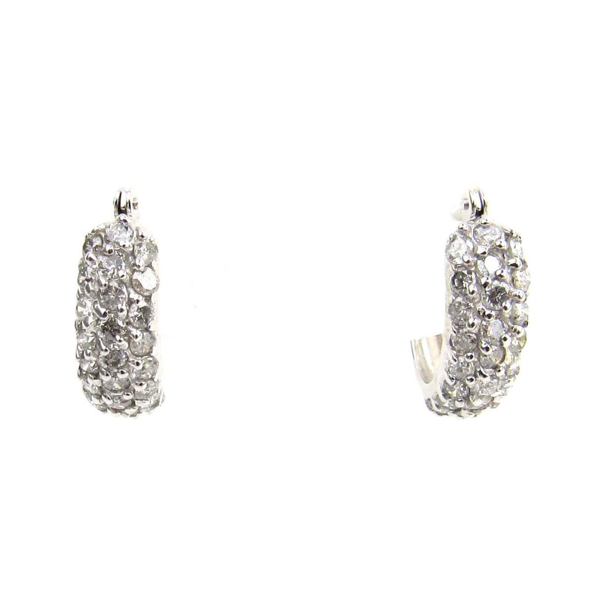 ジュエリー ダイヤモンド ピアス レディース K18WG (750) ホワイトゴールド x ダイヤモンド0.5ct x 2 | JEWELRY ピアス K18 18金 新品 ブランドオフ BRANDOFF